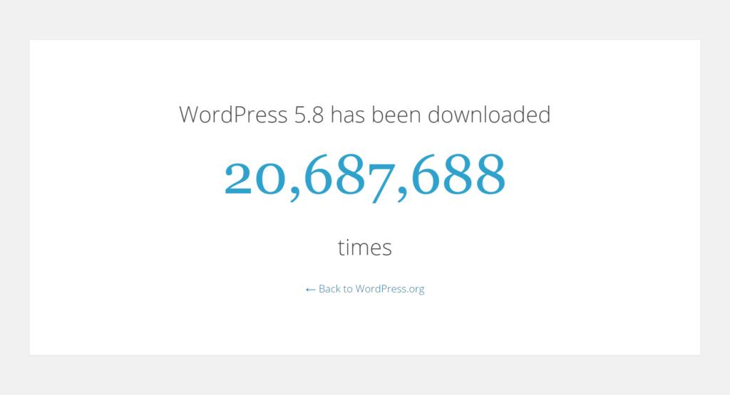 Número de downloads do wordpress 5.8